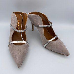 FSJ Gray and Gold Double Straps Stiletto Heel Mule